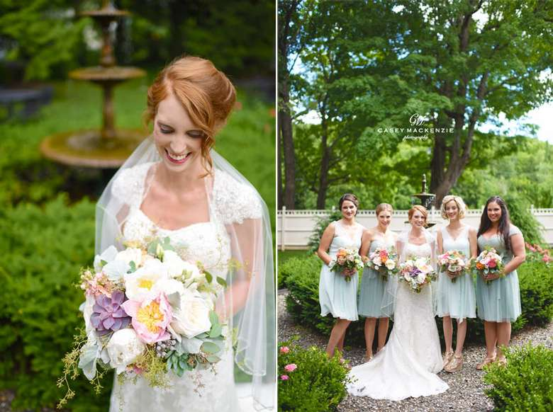 Bride in one photo and bride and bridesmaids in the other