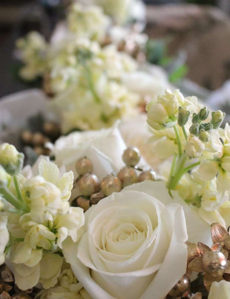 Floral arrangements in a line