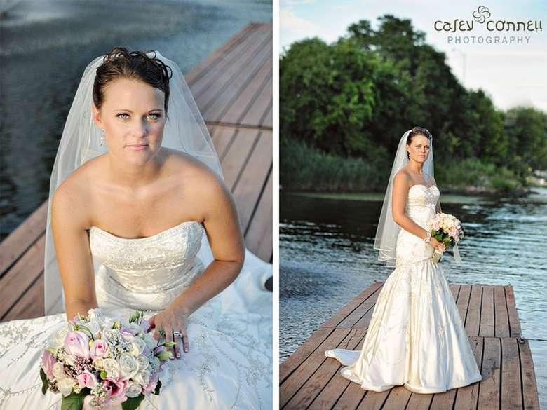 Bride standing on dock