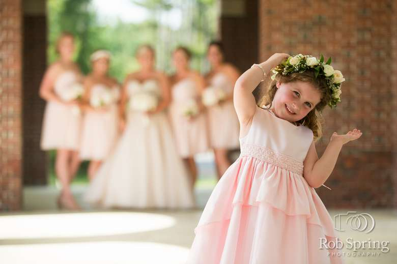 Flower girl with a a flower crown on