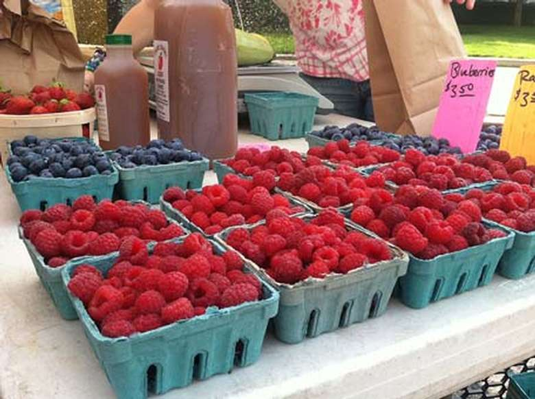 Raspberries and Blueberries for sale