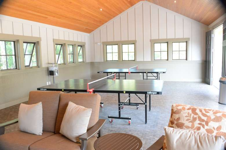 ping pong tables and a seating area