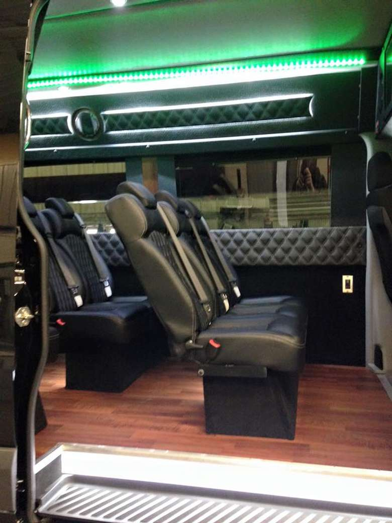 black leather seats in an upscale van