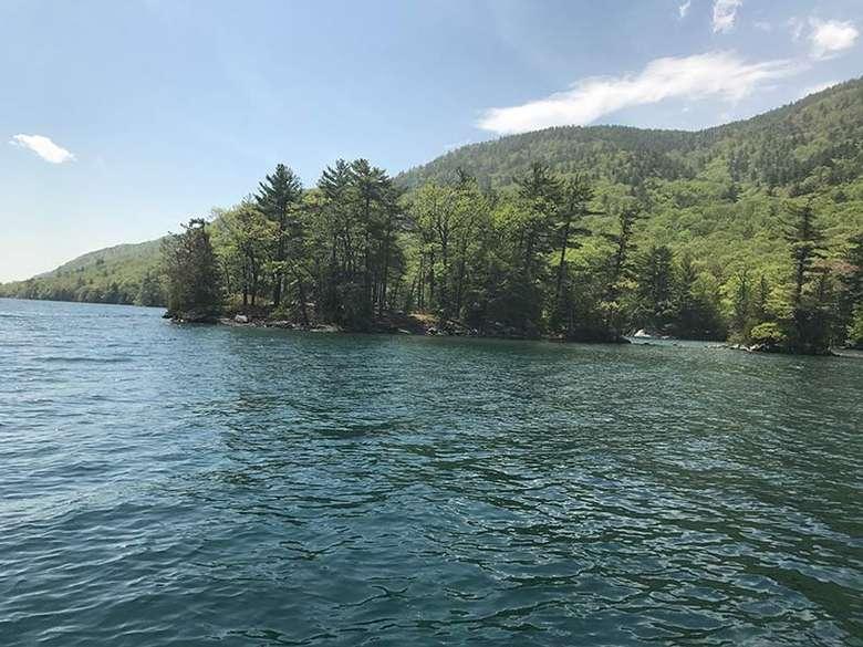 Approaching Steere Island on Lake George via boat