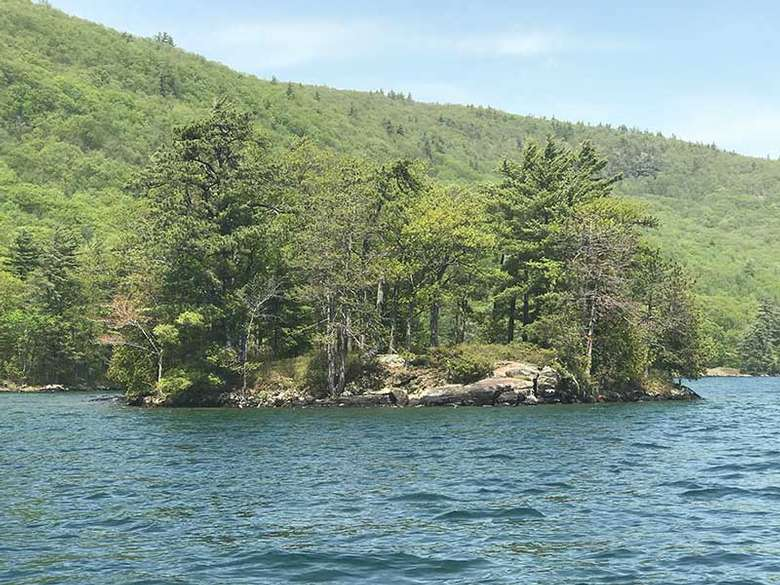 Rocky side of Steere Island on Lake George