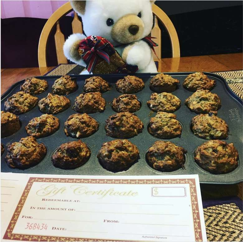 bear with gift card and vegan banana muffins