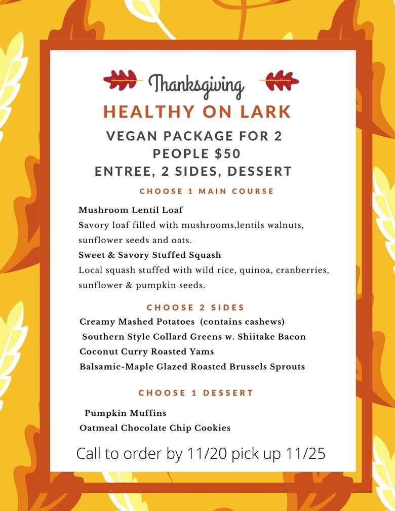 thanksgiving menu call to order