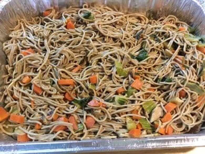 Family style sesame soba noodles