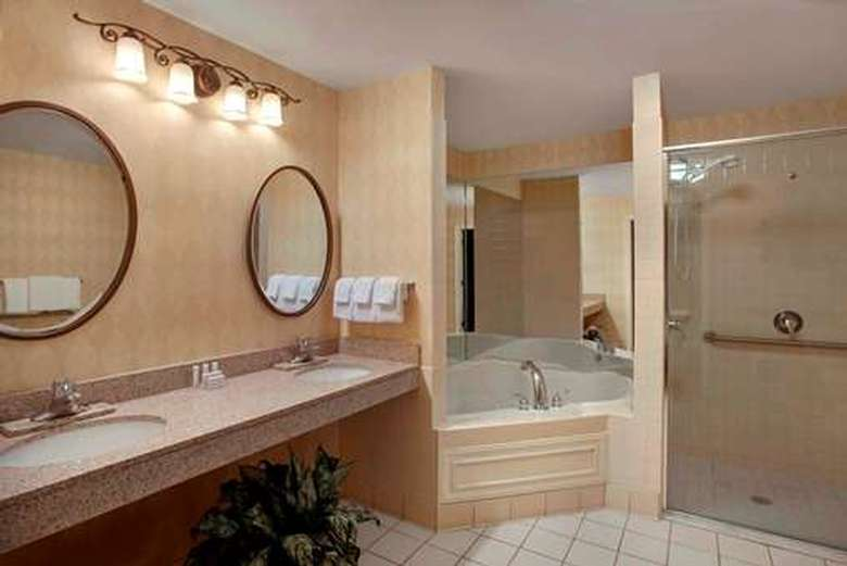 large bathroom with two sinks and a soaker tub in a hotel penthouse bathroom