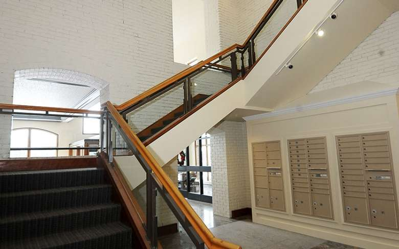 Stairs and mailboxes inside a building