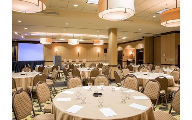 large banquet space with round tables