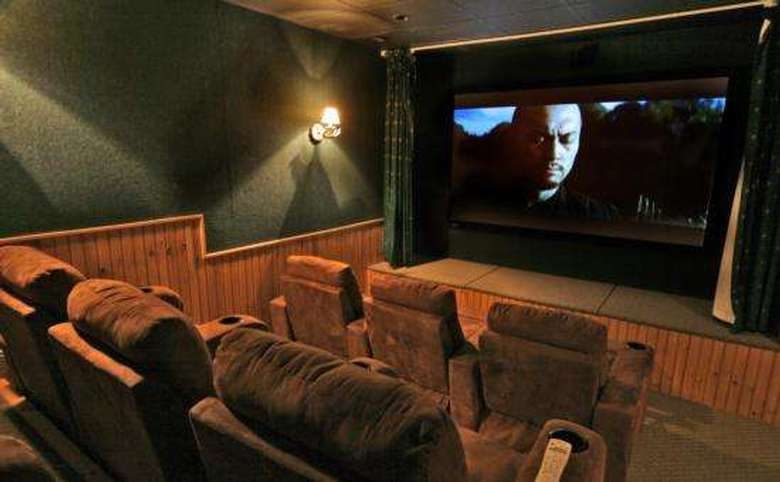 an indoor theater with a movie playing