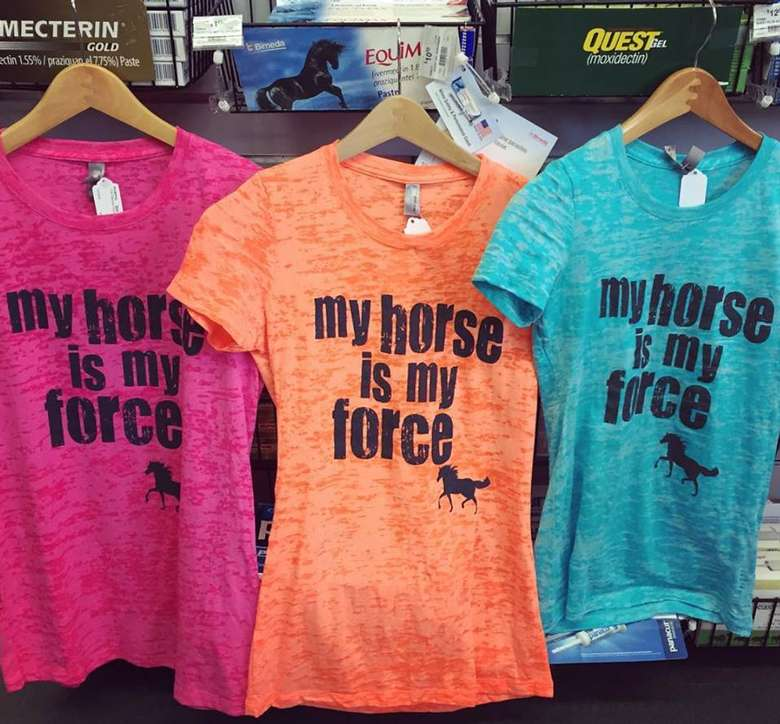 three colorful t-shirts that say my horse is my force