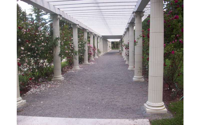 white pillars and walkway