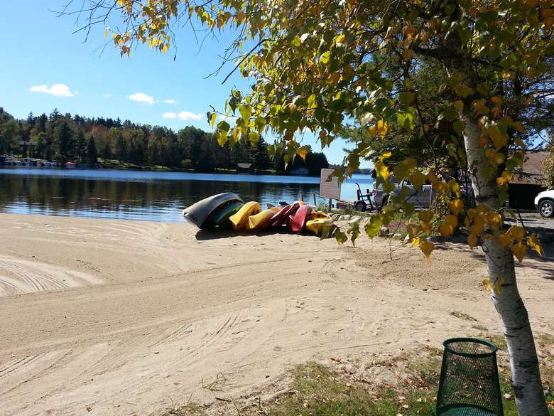 Beach and Canoes