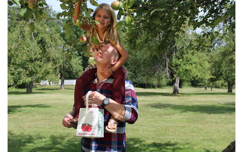 man with young girl apple picking