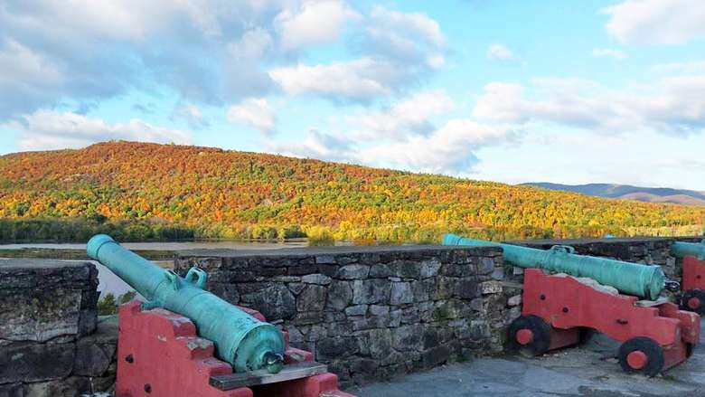 fall foliage and cannons at Fort Ticonderoga