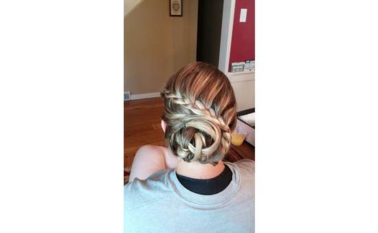 back of woman's head with updo