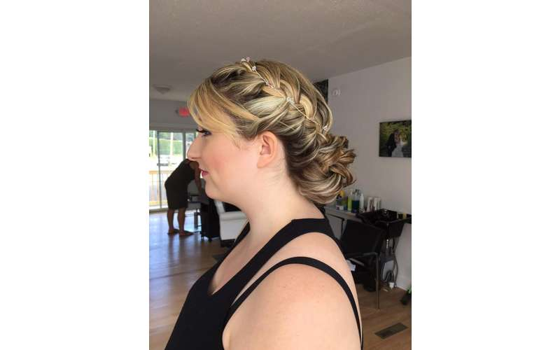 side view of woman with updo