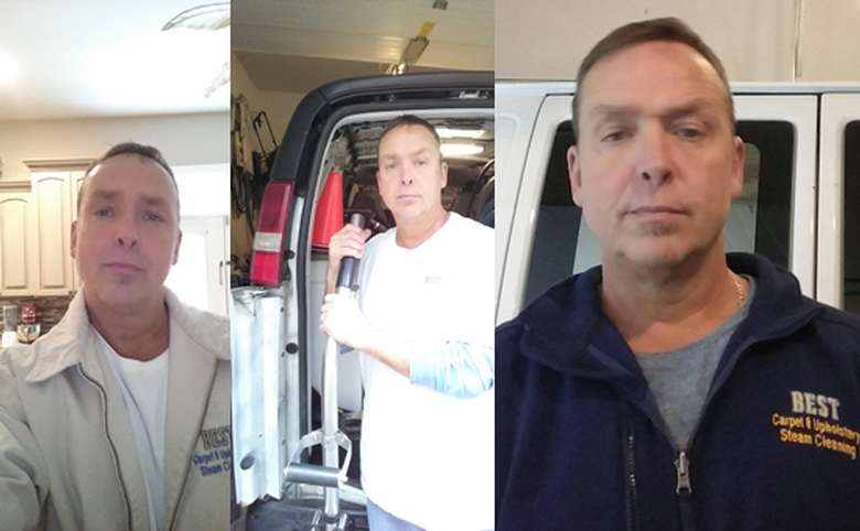 three images of owner Gerald BonGiorno in uniform and at truck with equipment