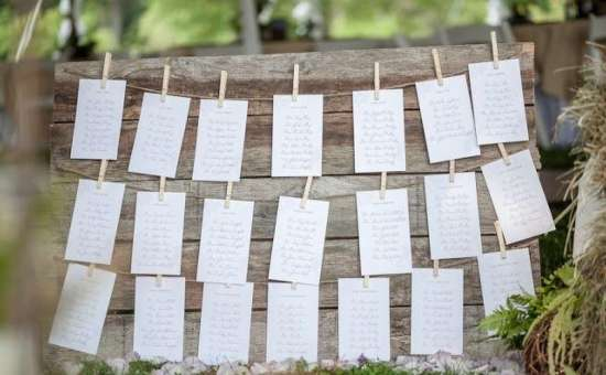 white notes on a wooden board