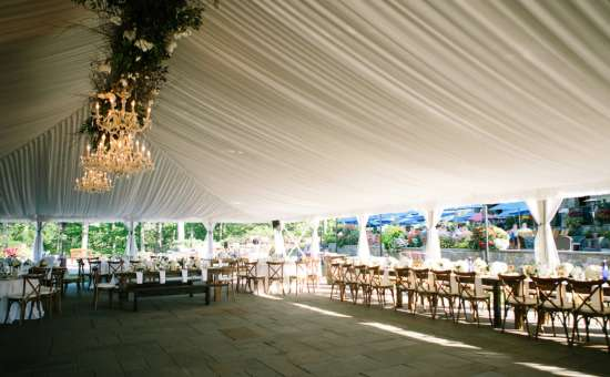 large tent over wedding tables