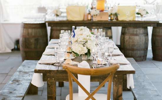 farm table with glassware on it