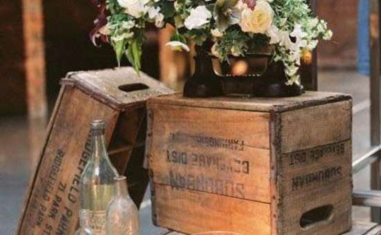 wooden crates with flowers on top