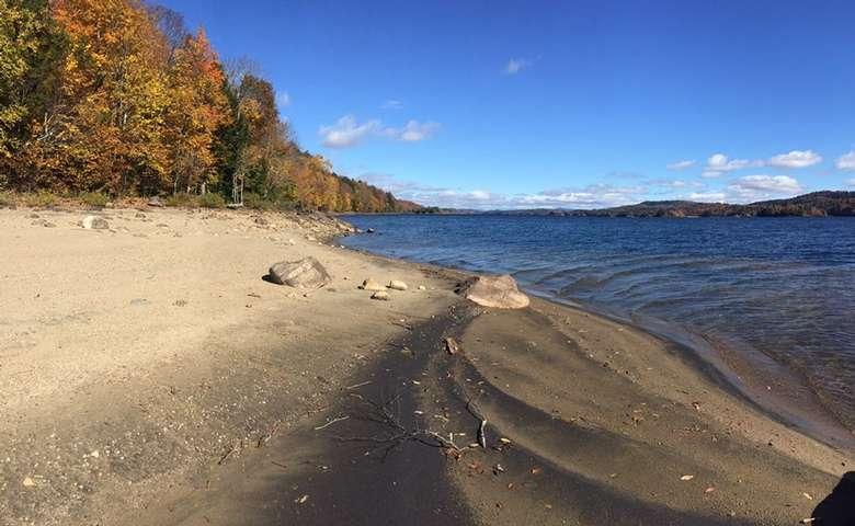 sandy beach on the water's edge
