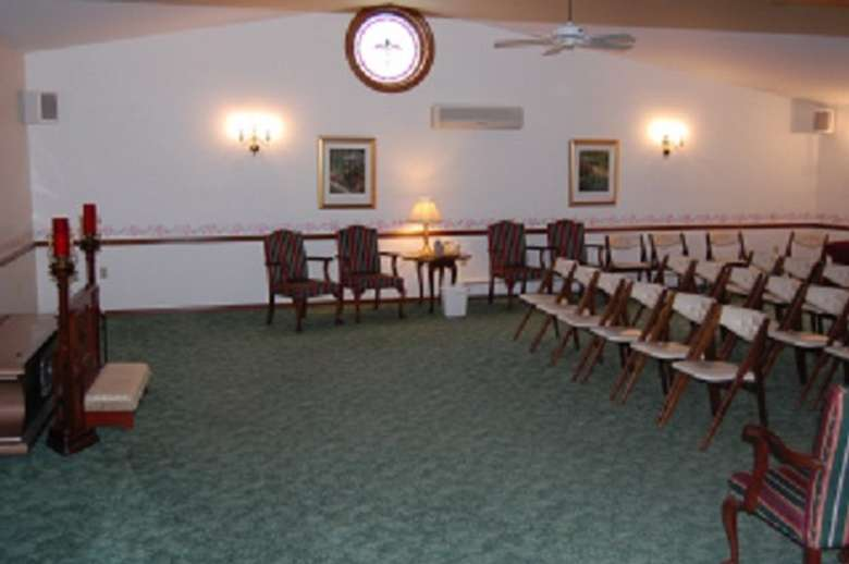 Side view of the chairs and front space of the room