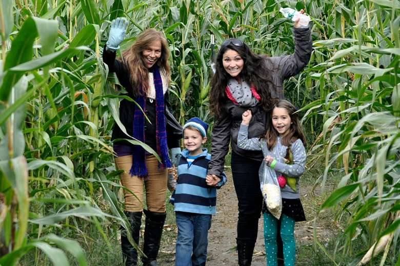 two adults and two kids standing in a corn maze