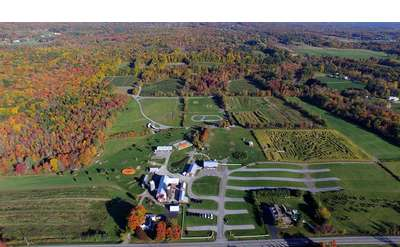 aerial view of ellms family farm property in the fall