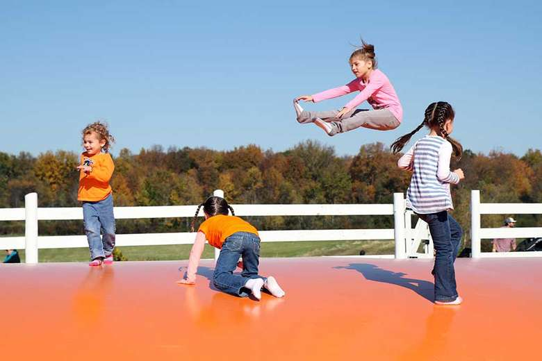 four kids bouncing on a jump pad