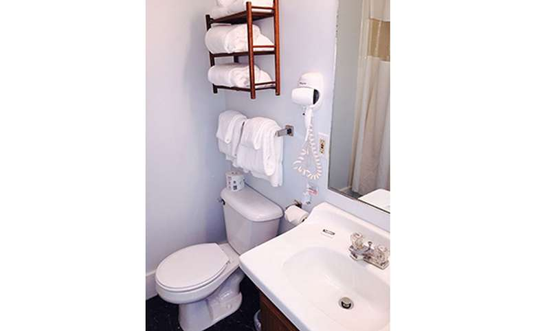A toilet with towel racks above, a blow dryer, sink and mirror are to the right. A shower curtain is reflected in the mirror.