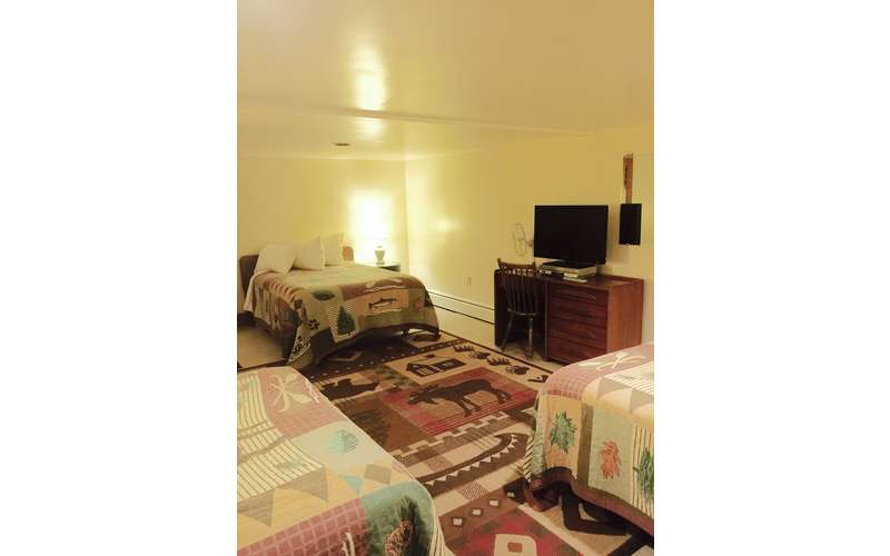 Wonderful downstairs room with 3 full beds and full bathroom.