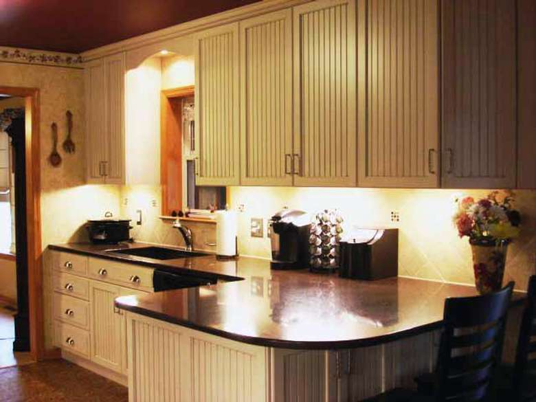 Remodeled kitchen with bright under cabinet lighting!