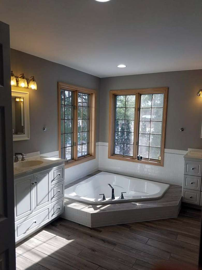 Bathroom with a soaker tub set into the floor
