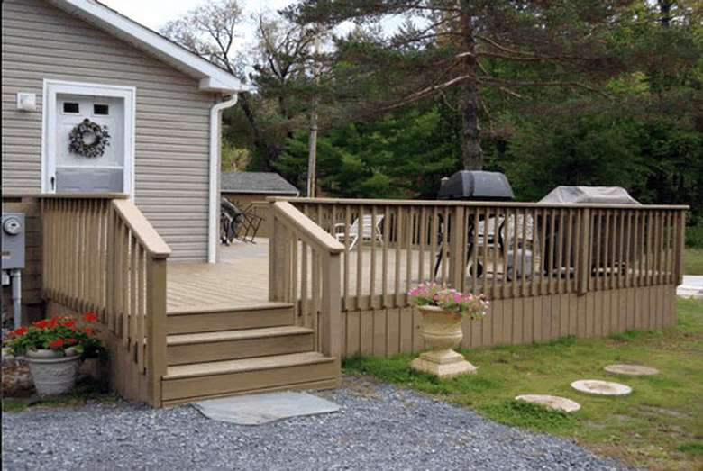 New wood deck in Huletts Landing, Lake George