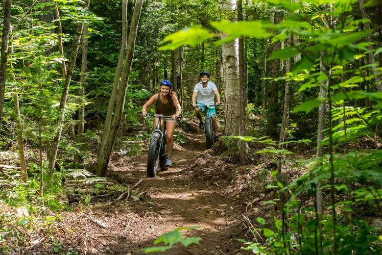 two people riding mountain bikes on a dirt trail