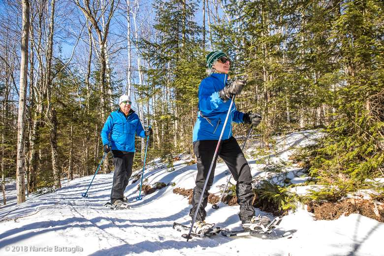 two people in blue jackets snowshoeing on a trail