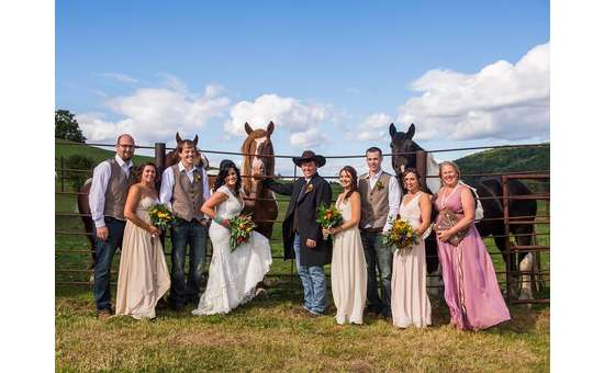 wedding party with horses