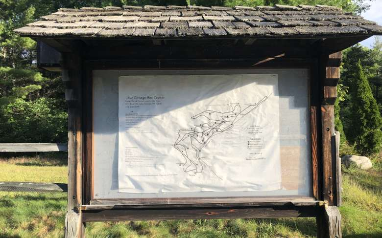 trail map in an outdoor display case