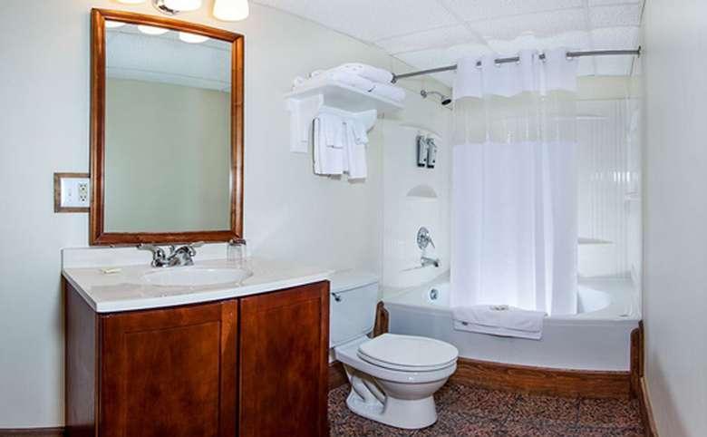 hotel room bathroom with sink, toilet, bathtub and shower