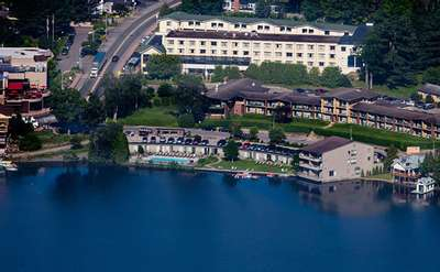 aerial view of lake placid summit hotel resort on lake