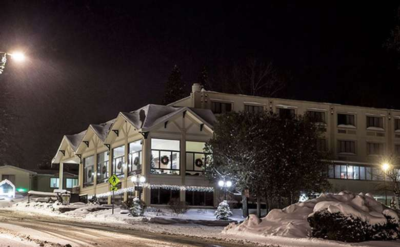 exterior view of hotel at night in the winter