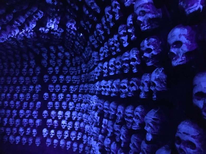 wall covered in skulls in blue light