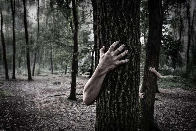 creepy hands behind trees