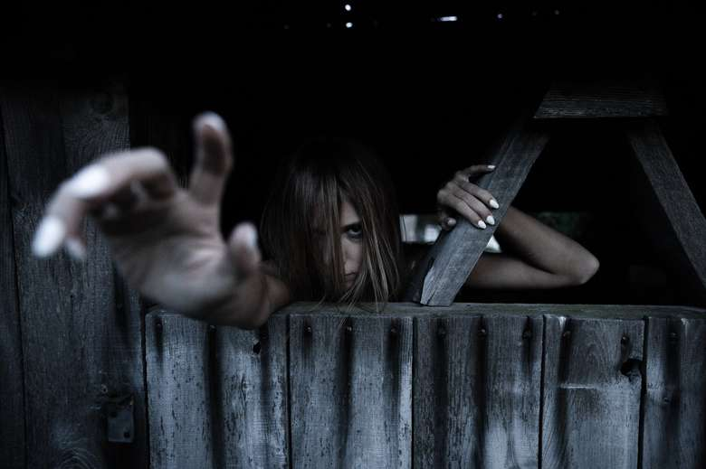 creepy woman reaching from behind wooden wall