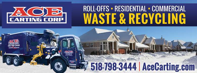 """Image reads """"Ace Carting Corop roll-offs, residential, commercial waste and recycling"""" with truck and snow-covered house"""