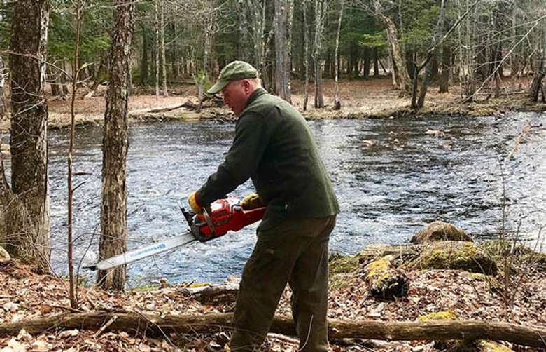 Man using a chainsaw in the woods by a stream